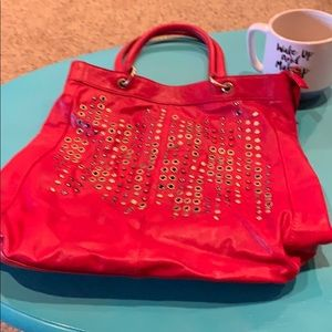 Melie Bianco red tote with grommets